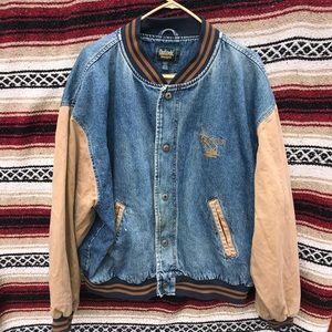 Men DunBrooke Vintage Denim Varsity Jacket XL